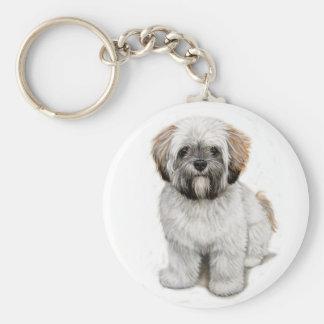 Lhasa apso Puppy keyring Basic Round Button Keychain