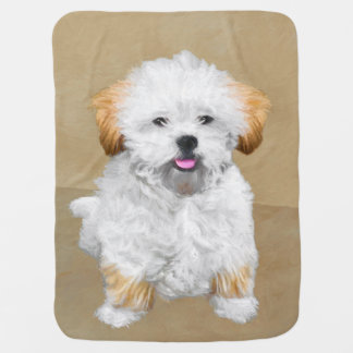 Lhasa Apso Puppy Painting - Cute Original Dog Art Baby Blanket
