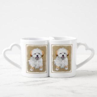 Lhasa Apso Puppy Painting - Cute Original Dog Art Coffee Mug Set