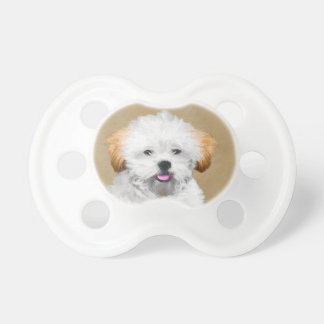 Lhasa Apso Puppy Painting - Cute Original Dog Art Pacifier