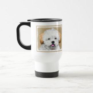 Lhasa Apso Puppy Painting - Cute Original Dog Art Travel Mug