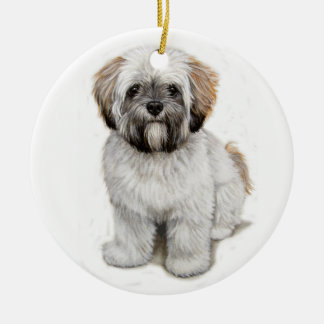 Lhasa apso Puppy xmas Tree ornament