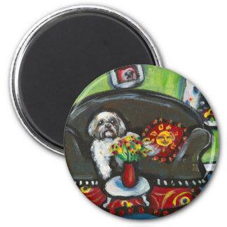 Lhasa Apso senses smiling moon Magnet