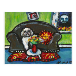 Lhasa Apso senses smiling moon Postcard