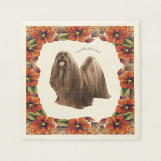 Lhasa Apso with Autumn Floral Paper Napkin