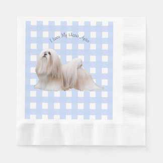 Lhasa Apso with Blue Gingham Paper Napkins