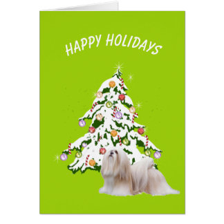 Lhasa Apso with Christmas Tree Happy Holidays Card
