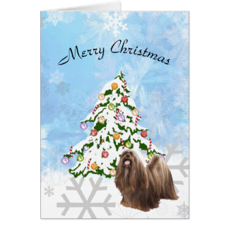 Lhasa Apso with Christmas Tree on Blue Crystal Card