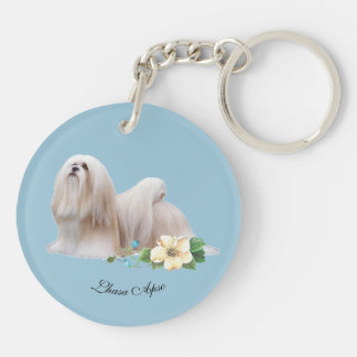 Lhasa Apso with Flower Double-Sided Round Acrylic Keychain