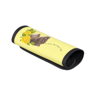 Lhasa Apso with Yellow Roses Luggage Handle Wrap