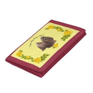 Lhasa Apso with Yellow Roses Tri-fold Wallets
