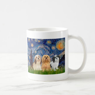 Lhasa Apsos (three) - Starry Night Coffee Mug