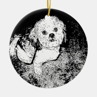 Lhaso Apso in Pen and Ink Ceramic Ornament