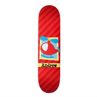 L'hélicoptère de l'enfant ; Rayures de rouge Skateboard