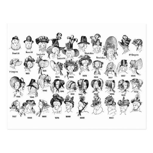 L'histoire des chapeaux des femmes carte postale