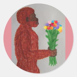 L'homme de Néanderthal fleurit l'amour Autocollants Ronds