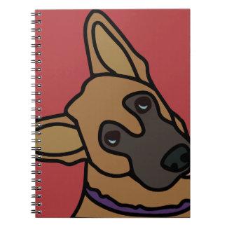 Libby the German Shepherd Dog Cartoon Spiral Notebooks