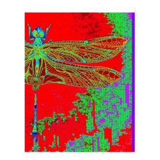 Libellule verte - cadeaux rouges par Sharles Carte Postale