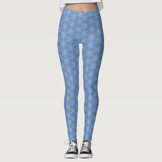 Liberal Snowflake - Blue Snowflakes on Blue Grey Leggings