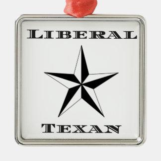 Liberal Texan Black and White Metal Ornament