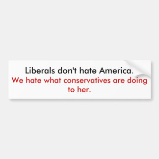 Liberals don't hate America Bumper Sticker
