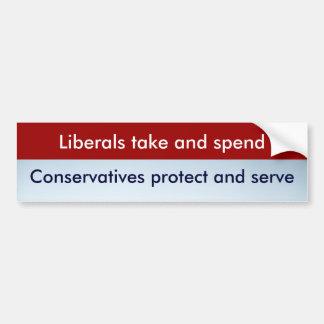 Liberals vs. Conservatives Bumper Sticker