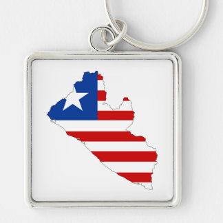 liberia country flag map shape symbol Silver-Colored square keychain