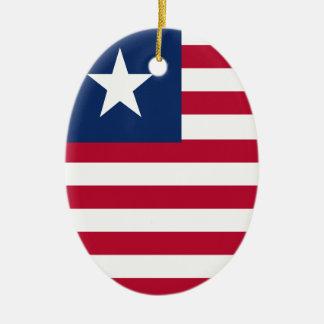Liberia flag ceramic oval ornament