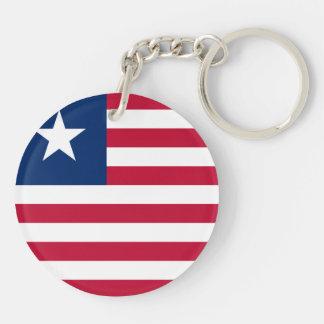 Liberia Flag Double-Sided Round Acrylic Keychain