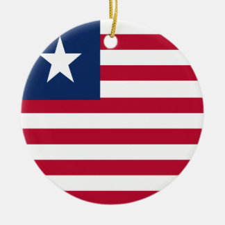 Liberia flag round ceramic ornament