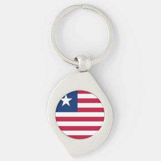 Liberia Flag Silver-Colored Swirl Keychain