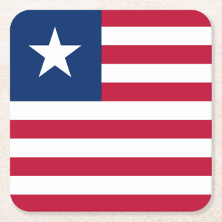 Liberia Flag Square Paper Coaster
