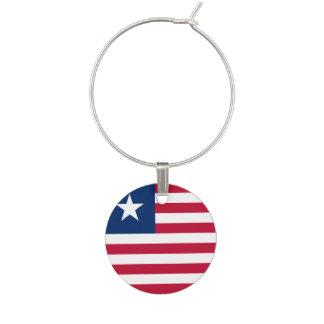 Liberia Flag Wine Glass Charm
