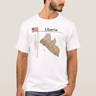Liberia Map + Flag + Title T-Shirt