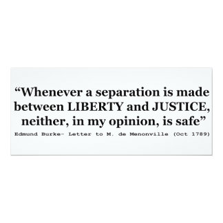"""Liberty and Justice Quote by Edmund Burke 1789 4"""" X 9.25"""" Invitation Card"""