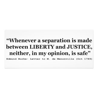 Liberty and Justice Quote by Edmund Burke 1789 Personalized Announcements