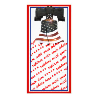 Liberty Bell with American Flag Photo Card