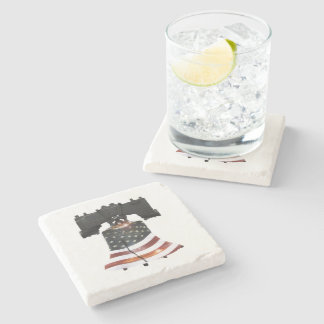 Liberty Bell with American Flag Stone Beverage Coaster