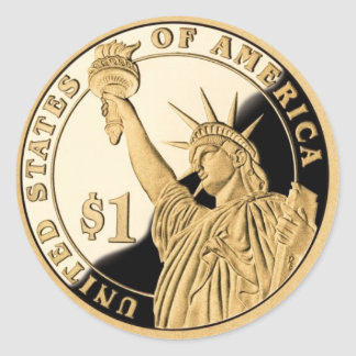 Liberty Dollar Coin Classic Round Sticker