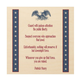 liberty eagle rustic wood plaque  Patrick Henry Wood Wall Art