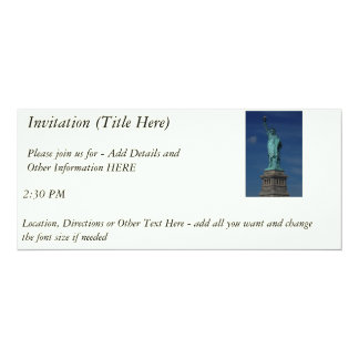 "Liberty Enlightening the World - Statue of Liberty 4"" X 9.25"" Invitation Card"