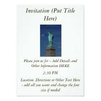 "Liberty Enlightening the World - Statue of Liberty 5.5"" X 7.5"" Invitation Card"