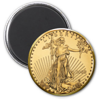 Liberty Gold Bullion Coin 2 Inch Round Magnet