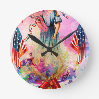 LIBERTY ~ INDEPENDENCE ~ FREEDOM ISN'T FREE WALL CLOCK