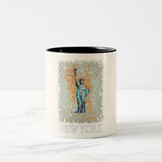 Liberty, New York, Manhattan, the USA, America Two-Tone Coffee Mug