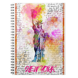 Liberty New York. Rainbow Color illustration Notebook