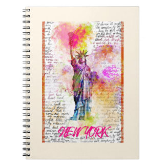 Liberty New York. Rainbow Color illustration Notebooks