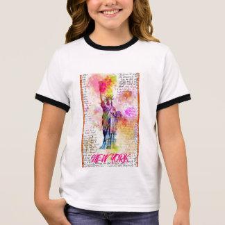 Liberty New York. Rainbow Color illustration Ringer T-Shirt