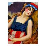Liberty Sleeps America USA Vintage Retro Kitsch Greeting Card