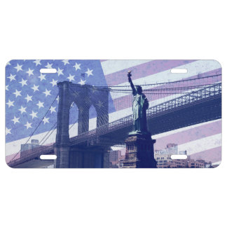 liberty statue USA flag and brooklyn bridge License Plate